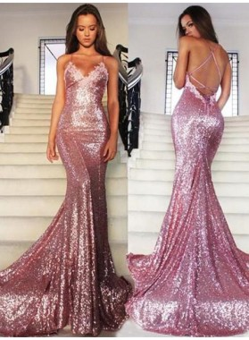 Mermaid/Trumpet Spaghetti Straps Backless Sequins Prom Dresses