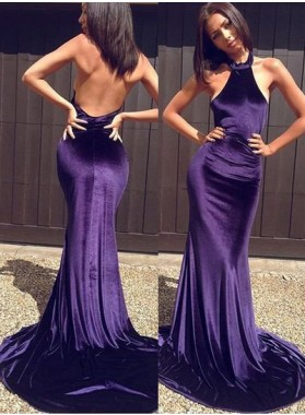 Mermaid/Trumpet Halter Sleeveless Backless Sweep Train Satin Purple Prom Dresses