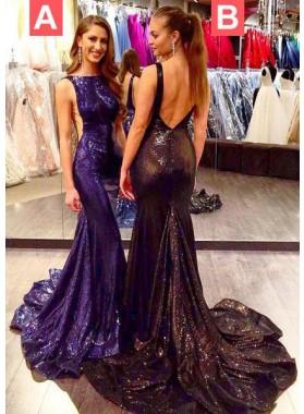 Mermaid/Trumpet Sleeveless Natural Zipper Floor-Length/Long Sequined 2019 Junoesque Black Prom Dresses
