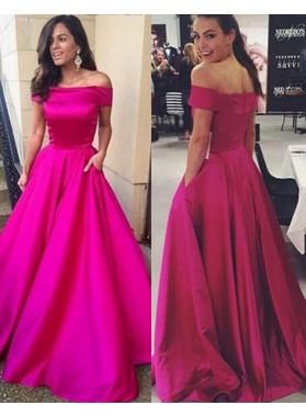 A-Line/Princess Off-the-Shoulder Sleeveless Natural Zipper Satin Fuchsia Prom Dresses
