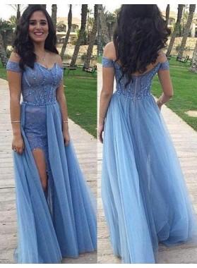 LadyPromDress 2018 Blue A-Line/Princess Off-the-Shoulder Sleeveless Floor-Length/Long Prom Dresses