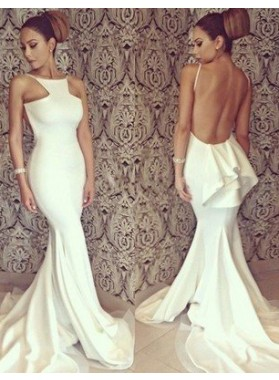 Mermaid/Trumpet Halter Sleeveless Natural Backless  Satin Chiffon Prom Dresses