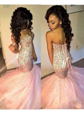 Mermaid/Trumpet Sweetheart Sleeveless Natural Lace-up Sequined Prom Dresses