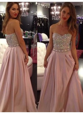 A-Line/Princess 2019 Glamorous Pink Sweetheart Sleeveless Natural Zipper Prom Prom Dresses
