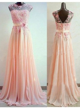 A-Line/Princess Sleeveless Natural ZipperSweep/Brush Train Chiffon Prom Dresses