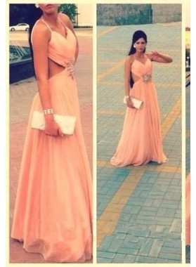 A-Line/Princess Spaghetti Straps Sleeveless Natural Backless Prom  Chiffon Prom Dresses