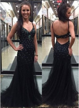 2019 Junoesque Black Mermaid/Trumpet Spaghetti Straps Sleeveless Natural Backless Prom Dresses