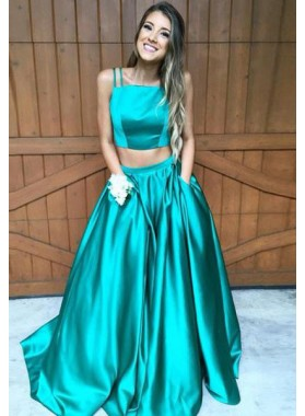 A-Line/Princess Spaghetti Straps Sleeveless Sweep/Brush Train Satin Dark Green Prom Dresses