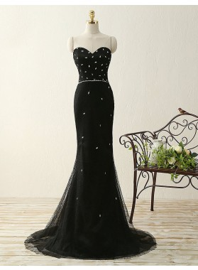 2019 Junoesque Black Beading Sweetheart Mermaid/Trumpet Tulle Prom Dresses