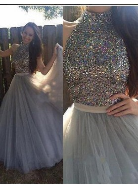 A-Line/Princess Sleeveless Natural Zipper Floor-Length/Long Tulle Silver Prom Dresses