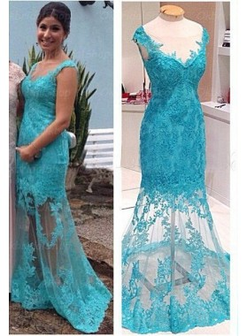 LadyPromDress 2019 Blue Mermaid/Trumpet V-Neck Sleeveless Natural Zipper Floor-Length/Long Lace Prom Dresses