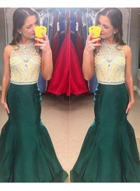 Mermaid/Trumpet Jewel Sleeveless Natural Zipper Floor-Length/Long Satin Prom Dresses