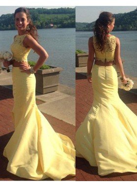 Floor-Length/Long Mermaid/Trumpet Bateau Chiffon Prom Dresses