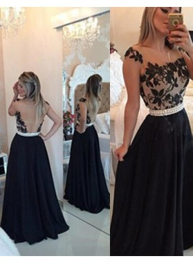 2021 Junoesque Black A-Line/Princess Straps Beading Backless Chiffon Prom Dresses