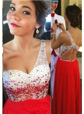 2019 Gorgeous Red Floor-Length/Long A-Line/Princess One Shoulder Beading Chiffon Prom Dresses
