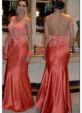 Mermaid/Trumpet Scoop Sleeveless Natural Zipper Floor-Length/Long Stretch Satin Prom Dresses