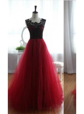 A-Line/Princess Notched Sleeveless Empire Floor-Length/Long Tulle Prom Dresses