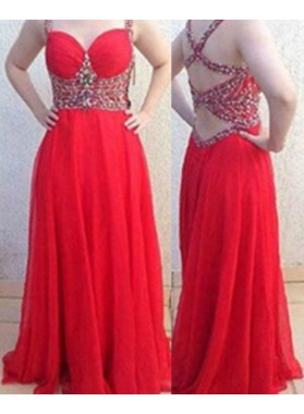 2019 Gorgeous Red Column/Sheath Spaghetti Straps Sleeveless Natural Backless Floor-Length/Long Chiffon Prom Dresses
