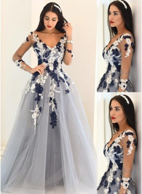 LadyPromDress 2021 Blue Sheer Sleeves Appliques A-Line/Princess Tulle Prom Dresses