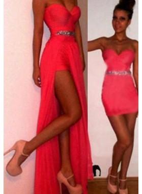 Floor-Length/Long Column/Sheath Sweetheart Chiffon Prom Dresses