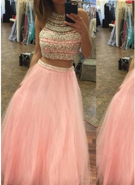 Halter Beading A-Line/Princess Tulle Two Pieces Prom Dresses