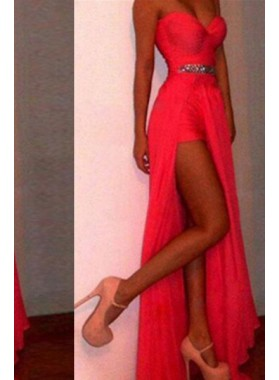 2019 Gorgeous Red Column/Sheath Sweetheart Sleeveless Floor-Length/Long Chiffon Prom Dresses