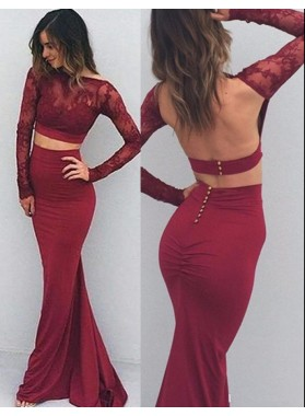 Burgundy Long Sleeve Mermaid/Trumpet Stretch Satin Two Pieces Prom Dresses