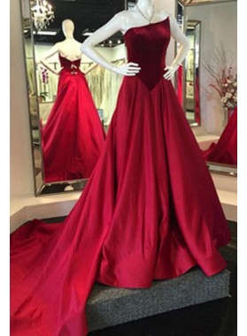 2018 Gorgeous Red Prom Dresses Strapless A-Line/Princess Sweep Train Satin