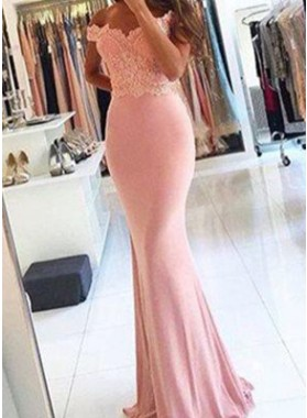 Column/Sheath Off-the-Shoulder Sleeveless  Floor-Length/Long Lace Prom Dresses