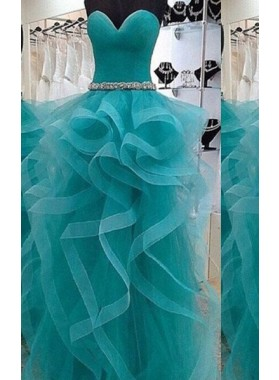 Layers Floor-Length/Long Lace Up Ball Gown Organza Prom Dresses