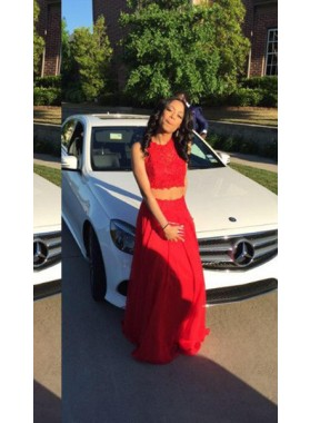 2019 Gorgeous Red Sleeveless Round Neck A-Line/Princess Chiffon Two Pieces Prom Dresses