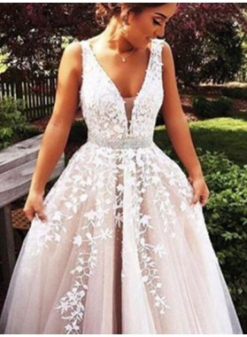 2019 Unique White A-Line/Princess V-Neck Sleeveless  Floor-Length/Long Tulle Prom Dresses