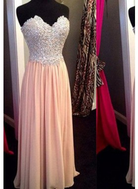 Floor-Length/Long Column/Sheath Sweetheart Beading Chiffon Prom Dresses
