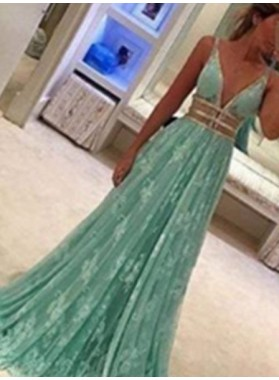 Elegant Lace Deep V-Neck A line Floor-Length/Long Prom Dresses