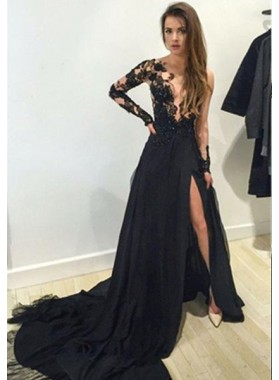 2021 Junoesque Black V-Neck Court Train A-Line/Princess Chiffon Prom Dresses