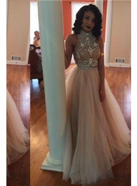 A-Line/Princess Halter Sleeveless Backless Floor-Length/Long Chiffon Champagne Prom Dresses