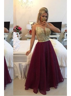 Floor-Length/Long A-Line/Princess Floor-Length/Long Chiffon Burgundy Prom Dresses