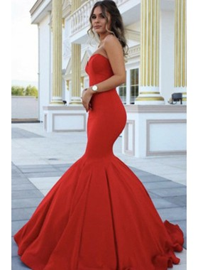 2019 Gorgeous Red Chic Sweetheart Mermaid/Trumpet Satin Prom Dresses