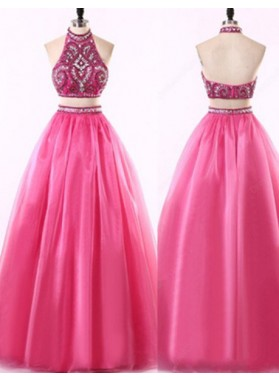 Beading Floor-Length/Long A-Line/Princess Tulle Two Pieces Prom Dresses