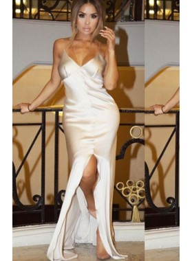 Split Front Floor-Length/Long Column/Sheath Stretch Satin Prom Dresses