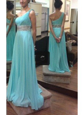 Column/Sheath One Shoulder Sleeveless  Floor-Length/Long Chiffon Prom Dresses