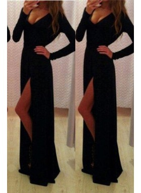 2019 Junoesque Black Prom Dresses Floor-Length/Long A-Line/Princess V-Neck Split Front Spandex
