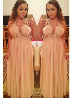 Straps Appliques Column/Sheath Chiffon Prom Dresses