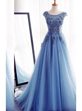 Appliques Lace Up Capped Sleeves  A-Line/Princess Tulle LadyPromDress 2019 Blue Prom Dresses
