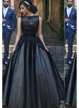 2020 Junoesque Black A-Line/Princess Bateau Sleeveless Natural Sweep/Brush Train Tulle Prom Dresses