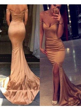 Sexy Mermaid/Trumpet Off-the-Shoulder Split Front Gold Prom Dresses