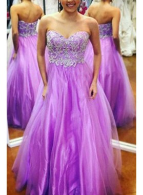 Sweetheart Appliques A-Line/Princess Tulle Prom Dresses