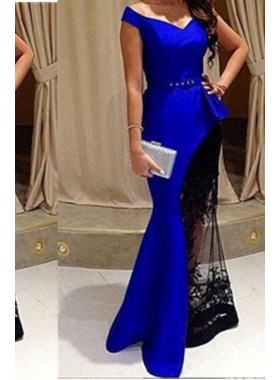 LadyPromDress 2019 Blue Mermaid/Trumpet Off-the-Shoulder Natural Sweep/Brush Train Satin Prom Dresses