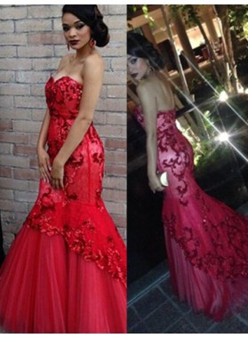2018 Gorgeous Red Beading Sweetheart Appliquues Mermaid/Trumpet Tulle Prom Dresses