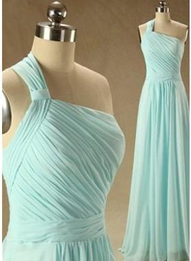 Floor-Length/Long Column/Sheath One Shoulder Chiffon Prom Dresses